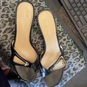 Naturalized Mules Black & Silver leather